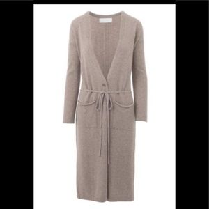 NWT Qi Cashmere Lt gray Duster Cardigan S